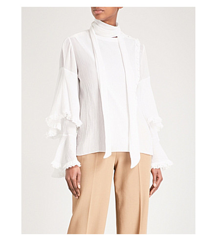 CHLOE Tiered-sleeve cotton-blend top (Iconic+milk