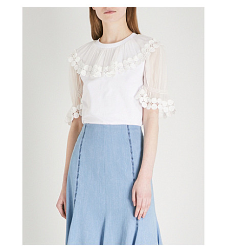 CHLOE Frilled-neck embroidered cotton and silk top (White