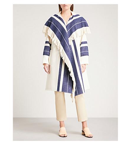 CHLOE Striped fringed cotton-blend jacket (White+-+blue+1
