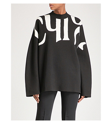CHLOE Oversized wool and cotton-blend jumper (Black+-+white+1