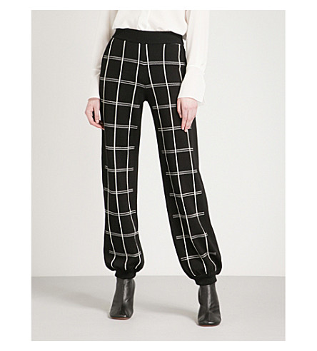 CHLOE Checked tapered woven trousers (Nr001+black