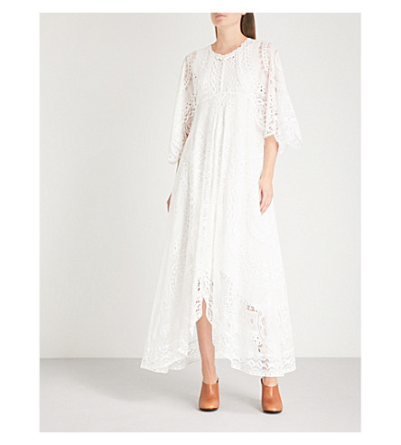 CHLOE Kimono-sleeve lace midi dress (Iconic+milk