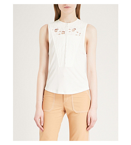 CHLOE Embroidered linen-blend blouse (Iconic+milk