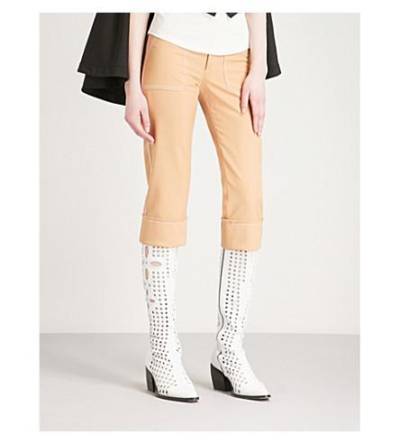 CHLOE Cropped wool-blend trousers (Quiet+brown