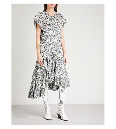 CHLOE Floral-print dropped-waist georgette dress (Light+blue