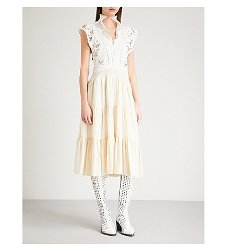 CHLOE Embroidered linen and silk cady dress (Pristine+white