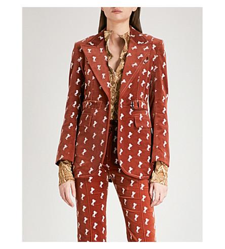 CHLOE Horse-embroidered velvet jacket (Crimson+brown