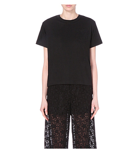 SACAI Corded lace and linen-blend t-shirt (Black