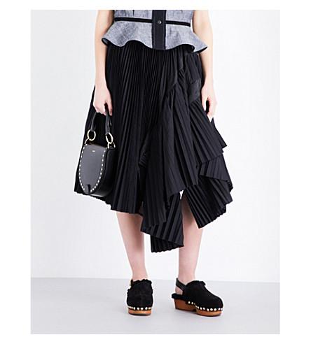 SACAI Asymmetric pleated woven skirt (Black