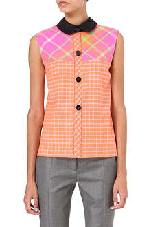 ROKSANDA ILINCIC Checked contrast-collar top