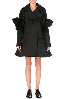 SIMONE ROCHA Frilled-shoulder neoprene coat