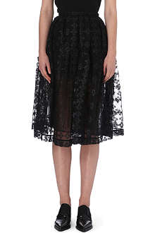SIMONE ROCHA Floral-embroidered tulle midi skirt