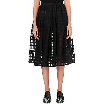 SIMONE ROCHA Grid-embroidered midi skirt (Black