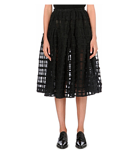 SIMONE ROCHA Grid-embroidered midi skirt (Black