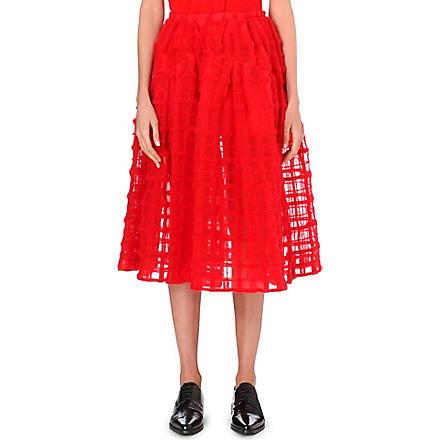SIMONE ROCHA Grid-embroidered midi skirt (Red