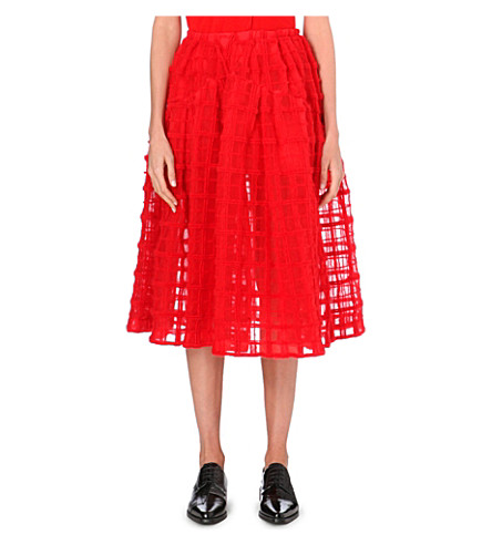 SIMONE ROCHA Grid-embroidered midi skirt (Red