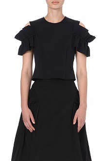 SIMONE ROCHA Ruffled cut-out detail top
