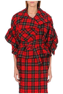 SIMONE ROCHA Tartan gathered-sleeve jacket