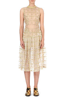 SIMONE ROCHA Floral-embroidered sleeveless tulle dress