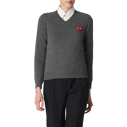 COMME DES GARCONS PLAY Fine–knit jumper (Grey