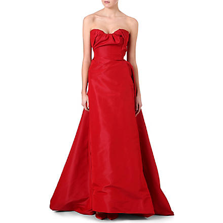 VIVIENNE WESTWOOD Ruffle bustier silk dress (Red