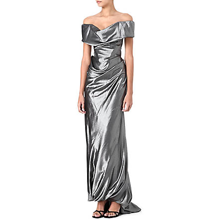 VIVIENNE WESTWOOD Cocotte off-the-shoulder gown (Black/ silver