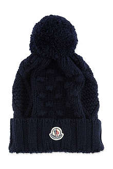 MONCLER Cable knit pom pom hat