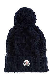 MONCLER Cable knit pom pom hat
