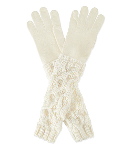 MONCLER Cable knit gloves (Ivory