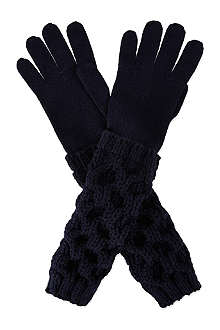 MONCLER Cable knit woollen gloves