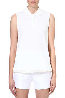 MONCLER Lace-trim sleeveless polo shirt