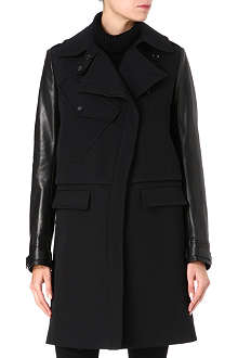 BELSTAFF Leather-sleeve wool-blend coat