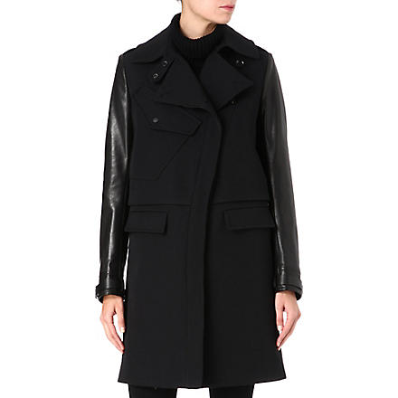 BELSTAFF Leather-sleeve wool-blend coat (Coal