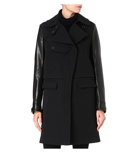 BELSTAFF Leather-sleeve wool-blend coat (Coal