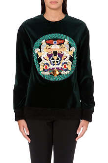 MARY KATRANTZOU Embroidered velvet sweatshirt