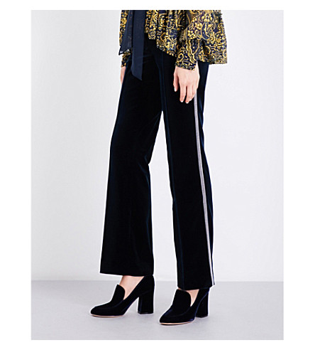 MARY KATRANTZOU Deosh flared high-rise velvet trousers (Navy+blue