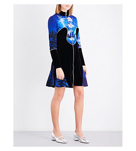 MARY KATRANTZOU Faylinn bead-embellished crepe and velvet mini dress (Blue+fairies
