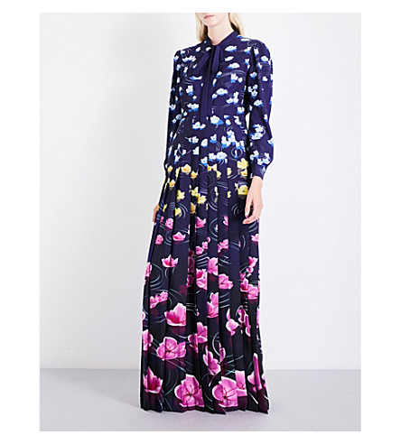 MARY KATRANTZOU Duritz crepe maxi dress (Lillies+rainbow