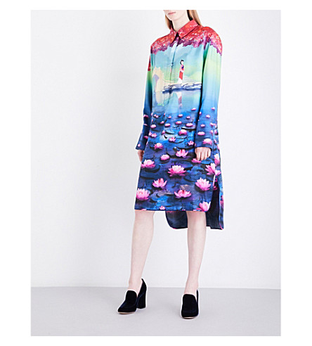MARY KATRANTZOU Hampton silk-twill shirt dress (Mulan
