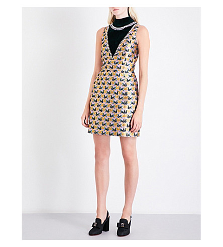 MARY KATRANTZOU Swan-embellished metallic-jacquard dress (Gold