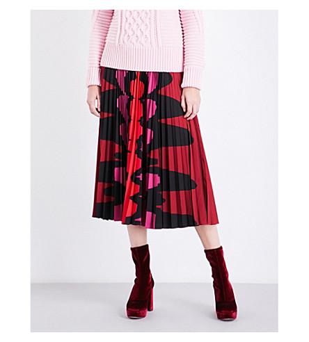MARY KATRANTZOU Uni pleated satin midi skirt (Purple/red