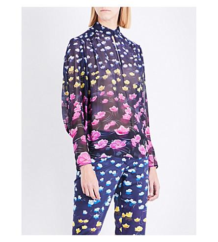 MARY KATRANTZOU Floral-print silk-georgette blouse (Lillies+rainbow