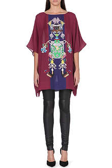 MARY KATRANTZOU Tiki graphic silk kaftan top