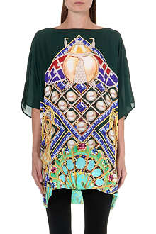 MARY KATRANTZOU Peacock-print silk kaftan