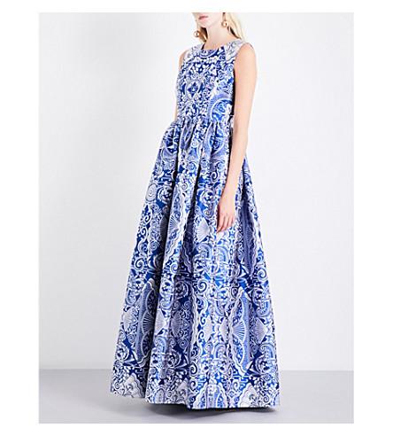 MARY KATRANTZOU Shaw cards sleeveless jacquard gown (Royal/silver