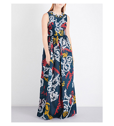 MARY KATRANTZOU Shaw silk-organza gown (Queens+teal
