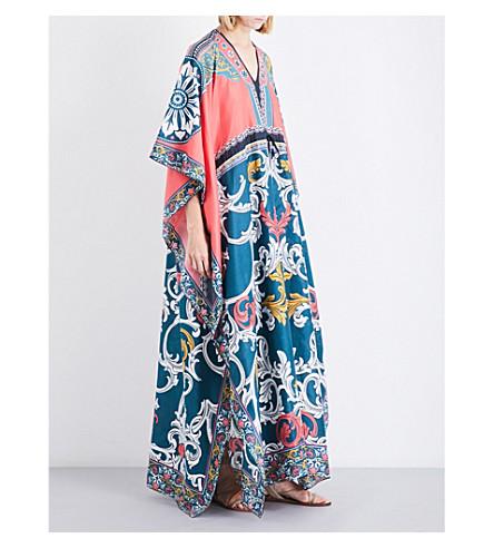 MARY KATRANTZOU Asso cotton and silk-blend kaftan (Queens+teal