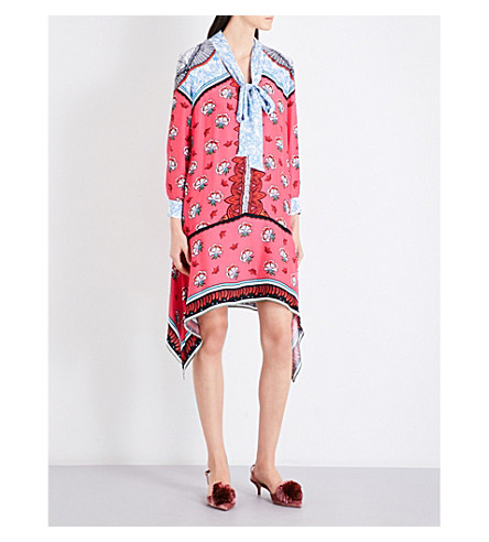 MARY KATRANTZOU Hearts baroque-pattern silk-crepe de chine dress (Kings+fuxia