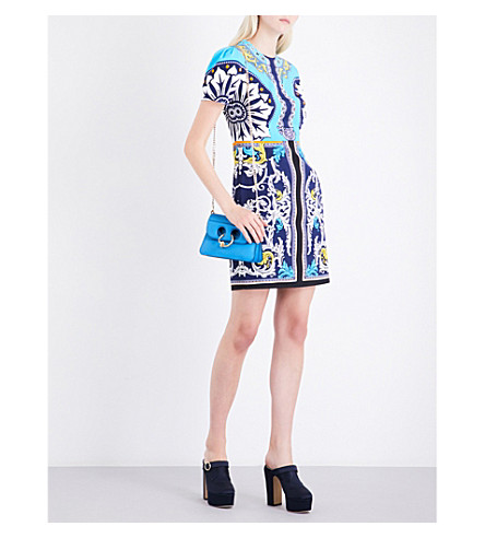 MARY KATRANTZOU Azurite crepe mini dress (Queens+turqouise
