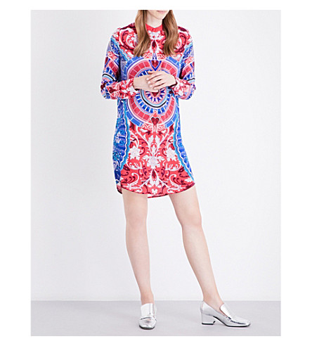 MARY KATRANTZOU Hellas-print silk dress (Wheel+of+fortune